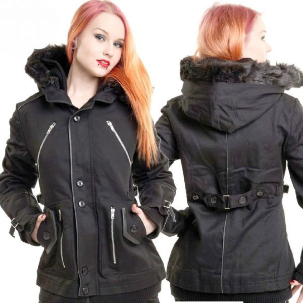 Poizen Industries Gothic Black Chase Winter Coat - Small